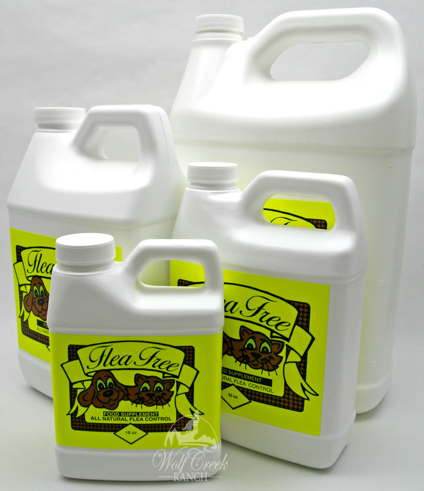 Flea Free Food Supplement is excellent to control fleas, ticks, mites, lice, and other blood sucking insects.  Available in 16 oz, 32 oz., 64 oz., & 128 oz. sizes.